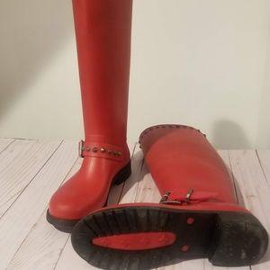 Diesel Hi Stud-Me Rain Boot-RED